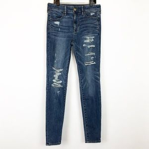 American Eagle High Rise Jegging Jeans Distressed